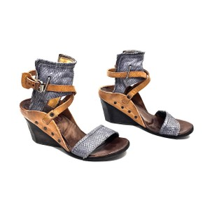 A.S. 98 Wedge Snakeskin Leather Blue & Camel Sandals