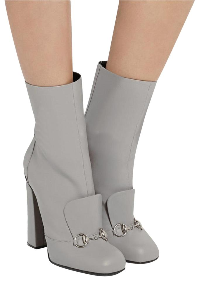 ab26922d Gucci Storm Grey Horsebit Ankle Leather Detail Lillian Boots/Booties Size  EU 37.5 (Approx. US 7.5) Regular (M, B) 19% off retail