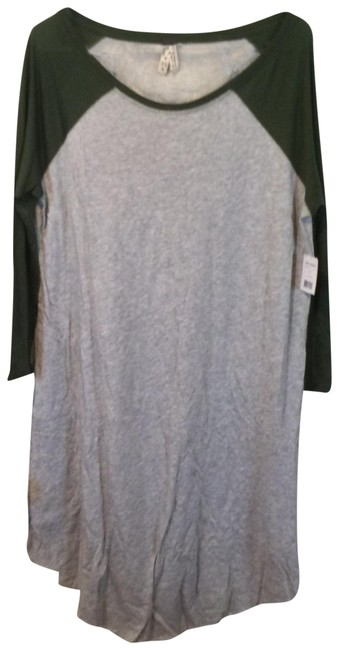 "Item - Gray ""Grey & Green"" Sheer-back Long Tunic Size 0 (XS)"