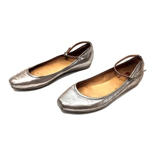 Frye Leather Ankle Strap Silver Flats