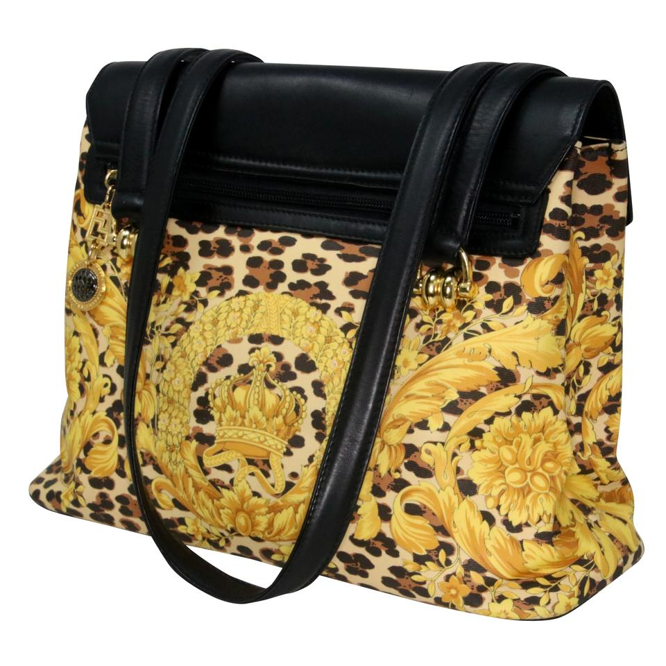 c232b473 Versace Tote Gianni Leopard Baroque Canvas Pattern Black and Gold Leather  Shoulder Bag 68% off retail