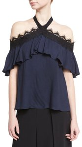 Alice + Olivia Halter Lace Top Navy