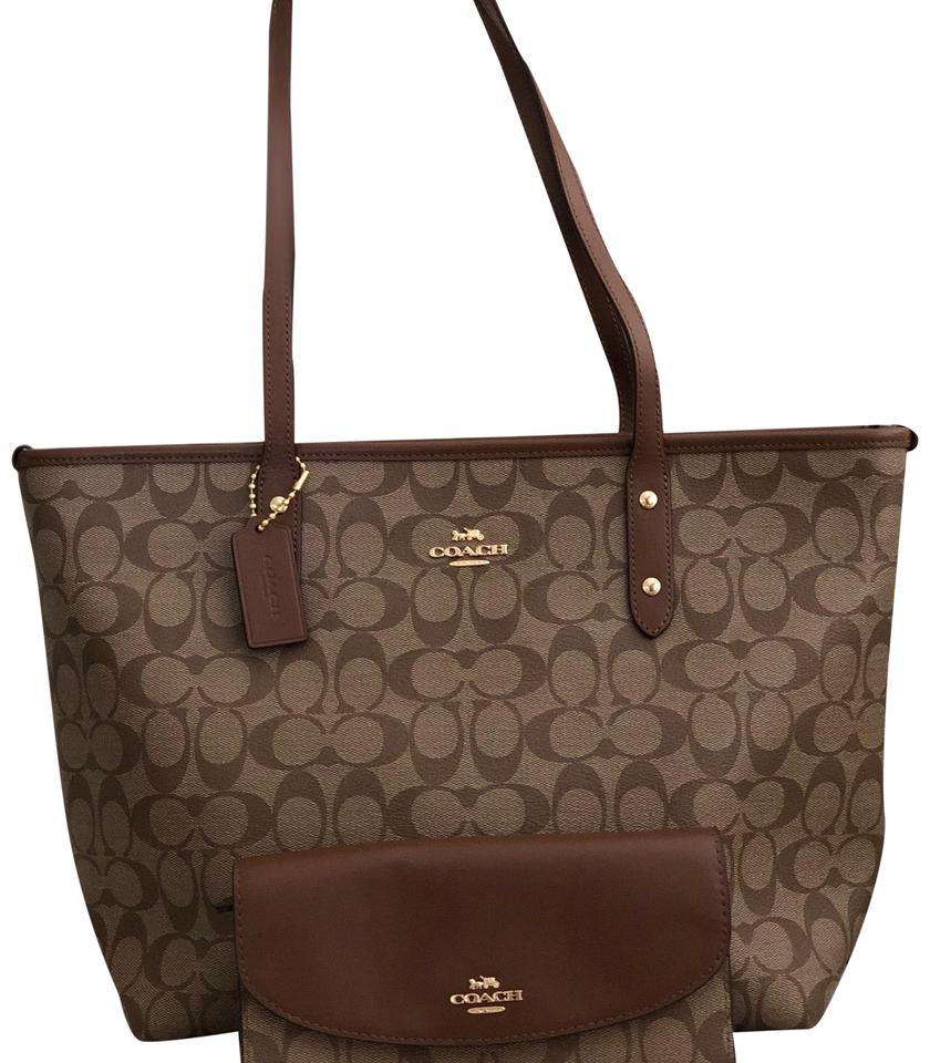 0788fee0c453 Coach City Zip In Signature Wallet Khaki Saddle Coated Canvas Tote ...