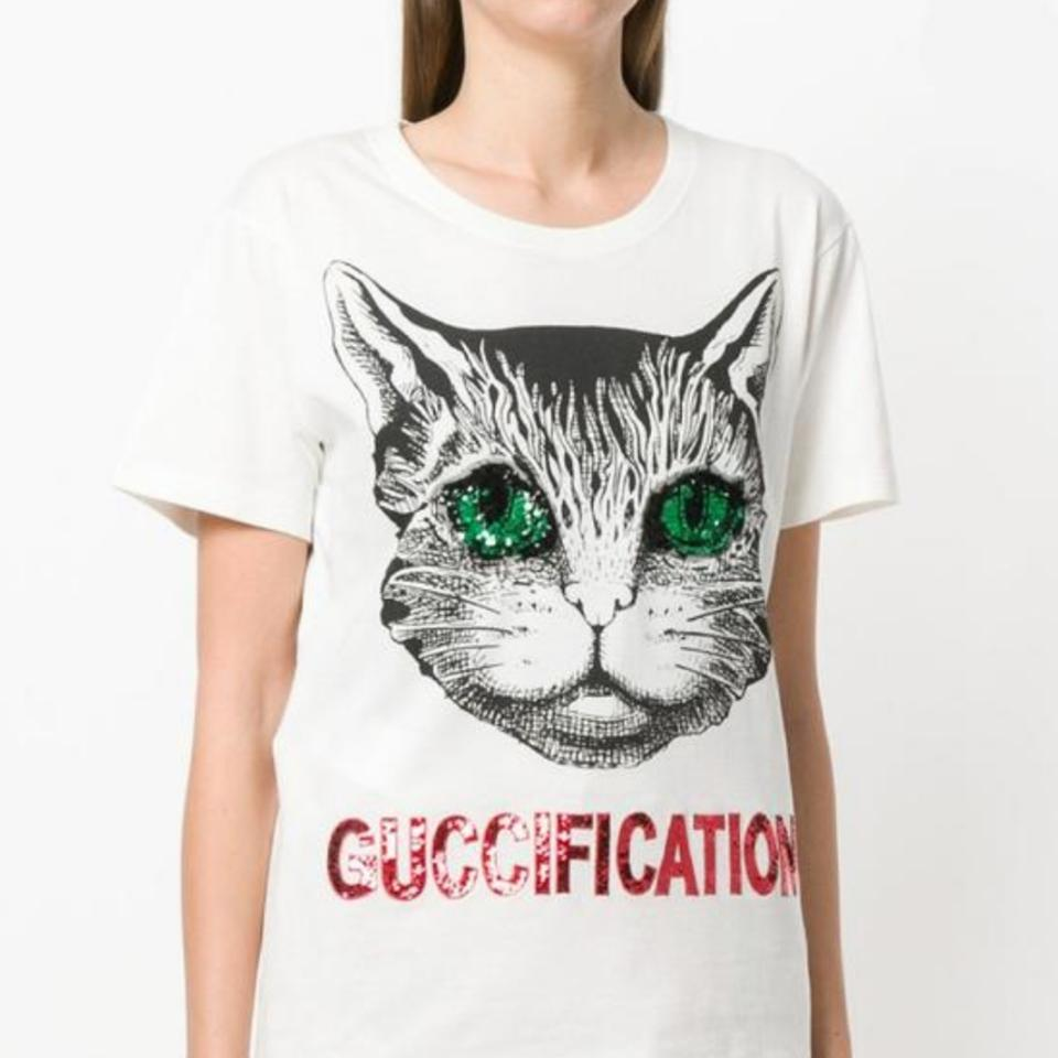 699121810 Gucci White 2018 Guccification Mystic Cat Tee Shirt Size 12 (L ...
