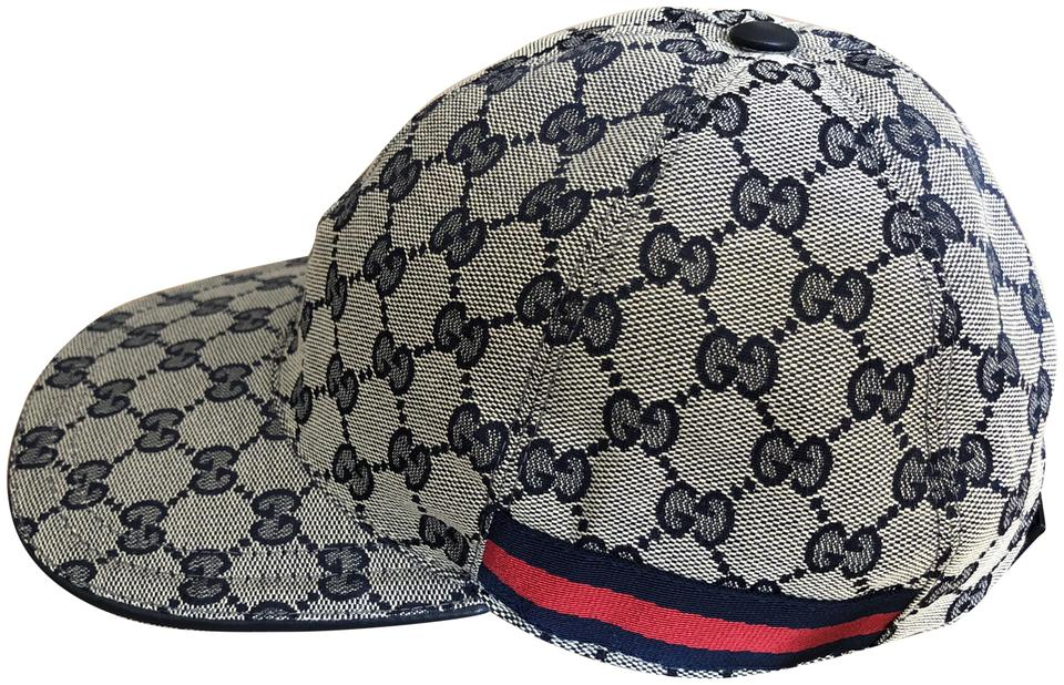 6ef183d8 Gucci Beige/ Blue Gg Canvas with Blue and Red Web Baseball Hat