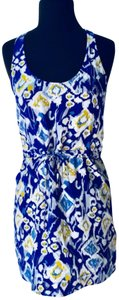 Twelfth St. by Cynthia Vincent short dress blue & yellow Silk Floral Street Date Night on Tradesy