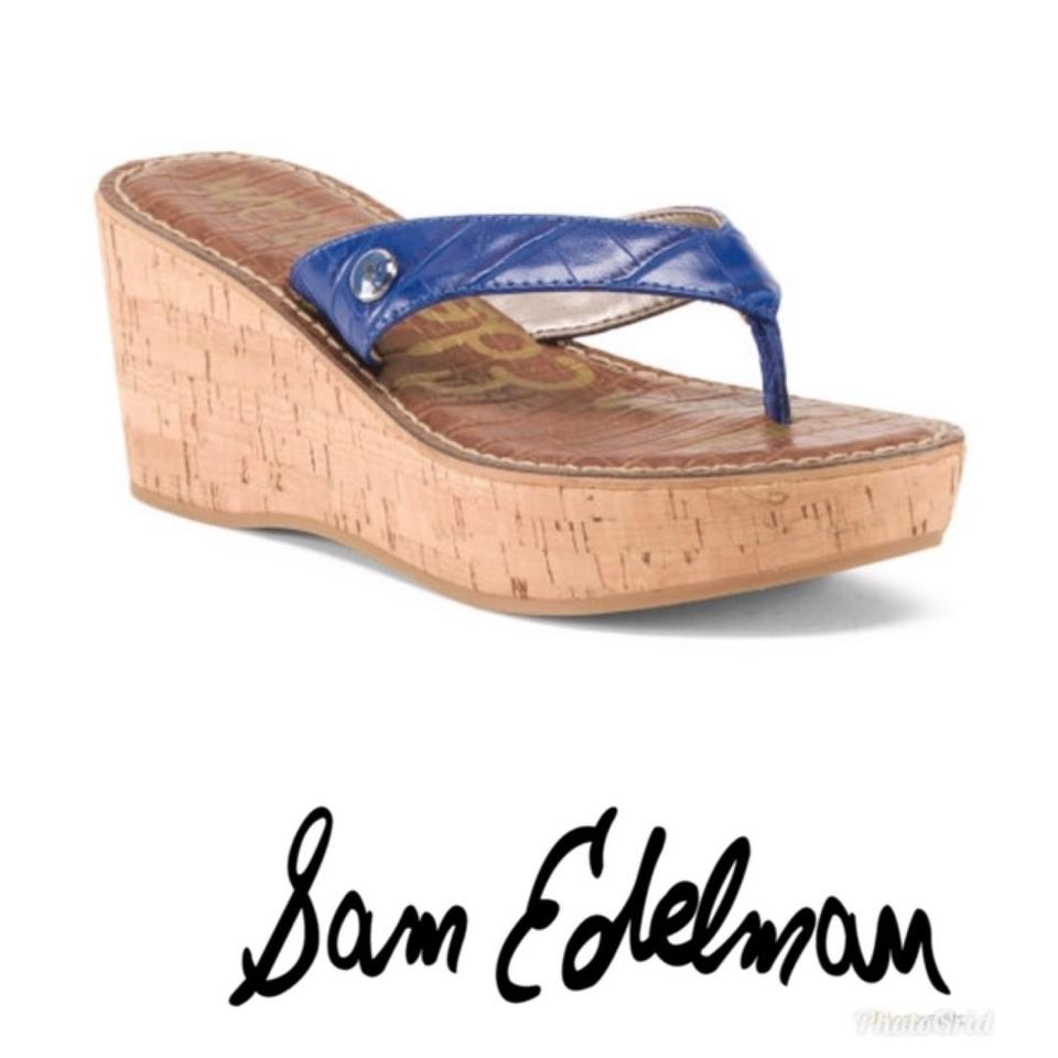 a8462f6ebf7093 Sam Edelman Blue Leather Cork Wedge Sandals Size US 9 Regular (M