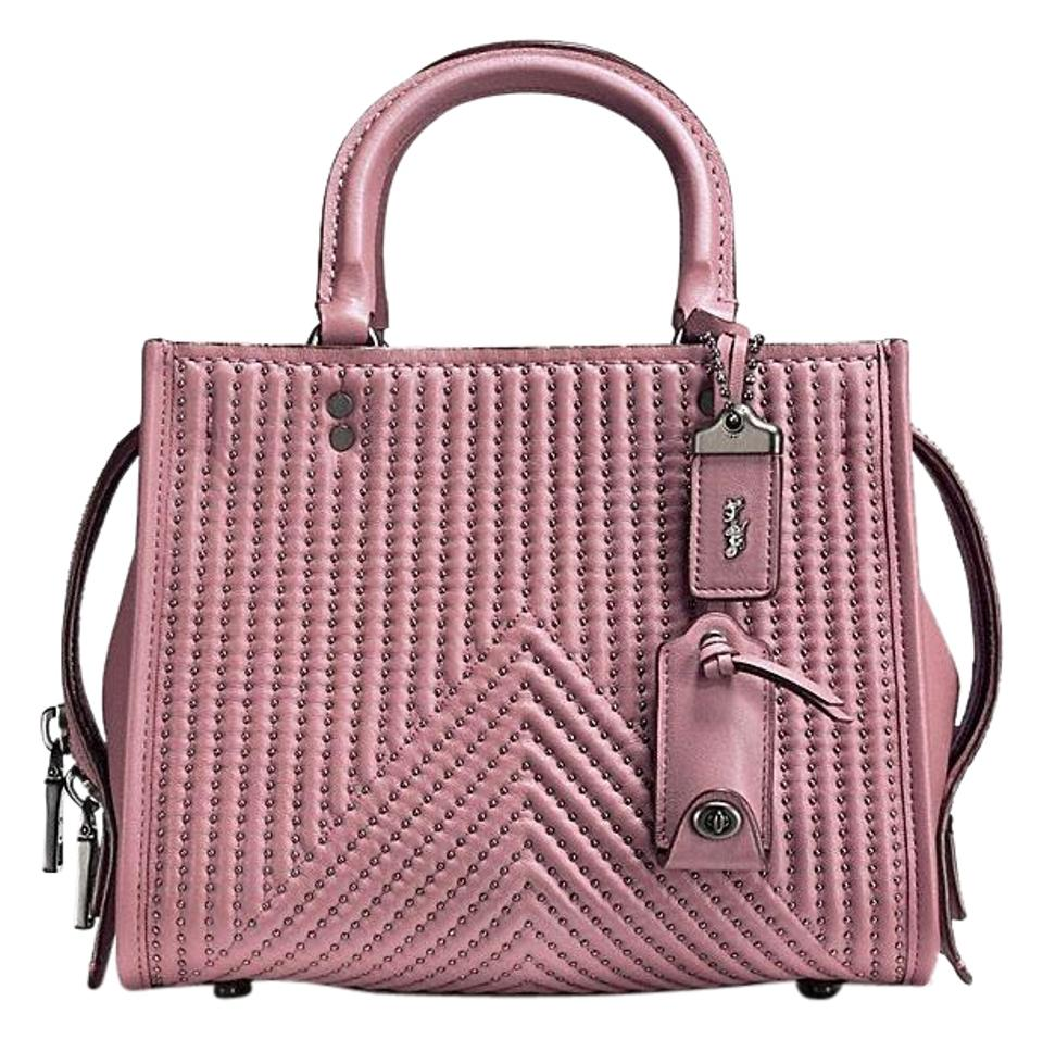 06c15faf10 Coach 1941 Rogue 25 with Quilting and Rivets Dusty Rose Black Copper Nappa  Leather Satchel