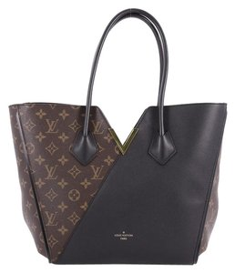 Louis Vuitton Leather Canvas Tote in brown and noir black