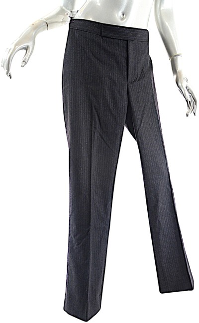 Item - Gray Charcoal Wool Blend with Silver Pinstripe Detail Pants Size 6 (S, 28)
