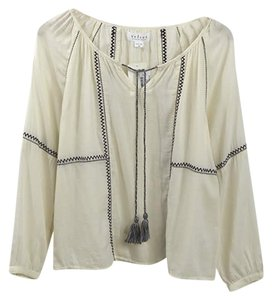 Velvet by Graham & Spencer Embroidered Fall Winter Casual Date Night Top OFF WHITE/ BLACK
