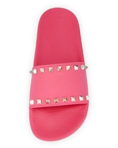 Valentino Goldtone Rockstud Detailing Made In Italy Open Toe Rubber Sole Pink Sandals