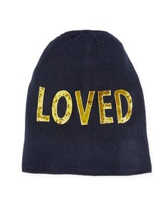 """Gucci NWT Gucci gold sequined """"LOVED"""" black wool knit beanie hat - size M"""