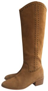 twiggy LONDON Leather Suede Studded Tan Boots