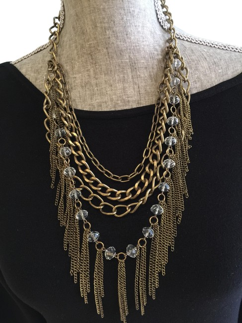 Item - Antique Goldtone and Clear Crystals Multi-chain/Fringe With Necklace