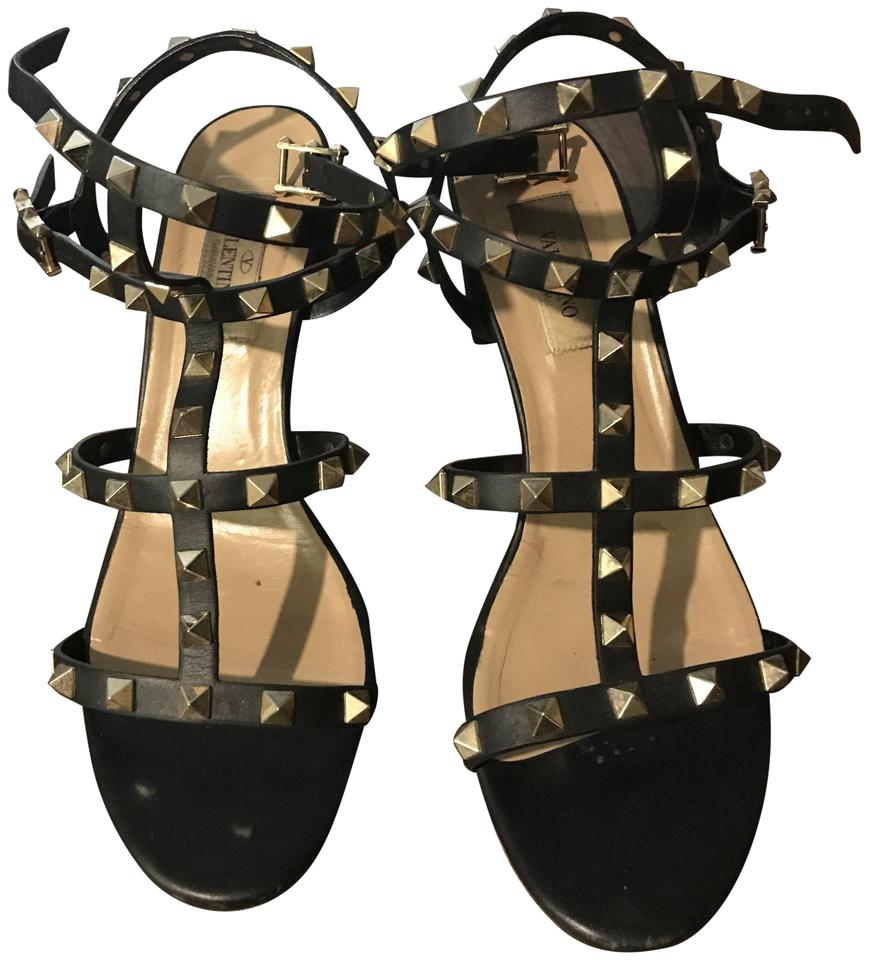 83f79314d2 Valentino Black T-strap Rockstud Sandals Size US 8 Regular (M, B ...