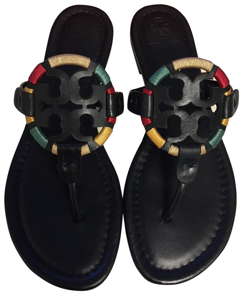 Tory Embroidered Burch Black Embroidered Tory Miller Leather Thong Sandals a24eec