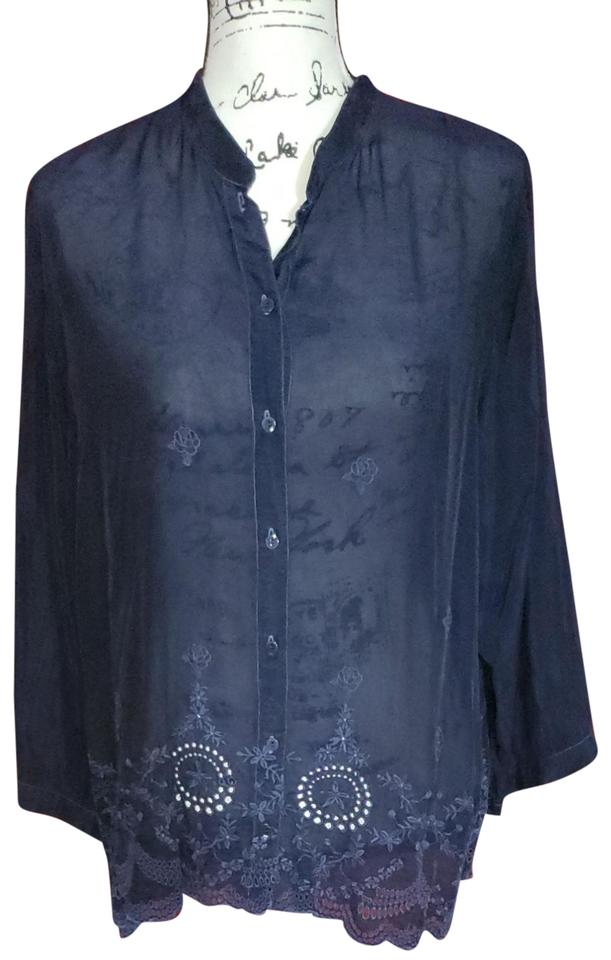ab78dc006be00b Johnny Was Navy Blue Blouse Size 12 (L) - Tradesy