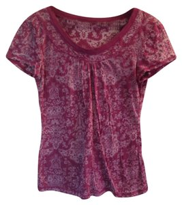 Other Sheer Boho Paisley T Shirt Magenta