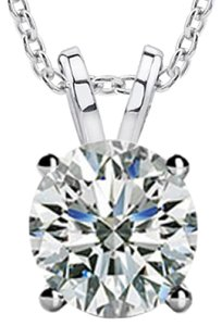 Madina Jewelry 0.20 Ct Ladies Round Cut Diamond Solitaire Pendant / Necklace