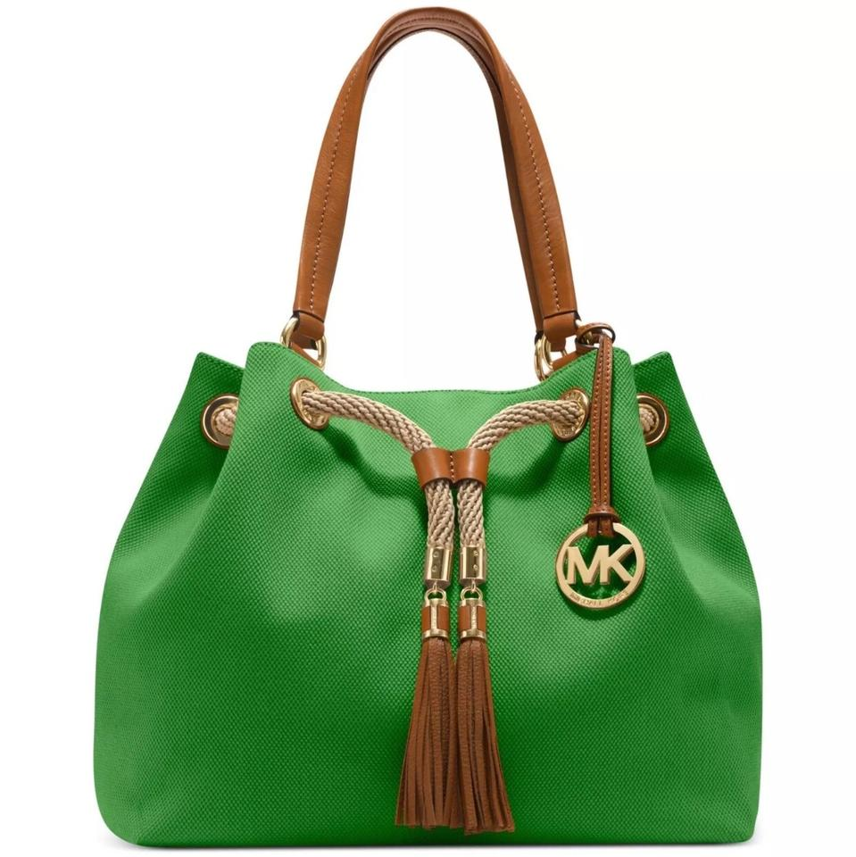0525b28bfcca Michael Kors Marina Gathered Green Canvas Tote - Tradesy