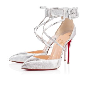 Christian Louboutin Pigalle Stiletto Classic Suzanna Ankle Strap silver Pumps