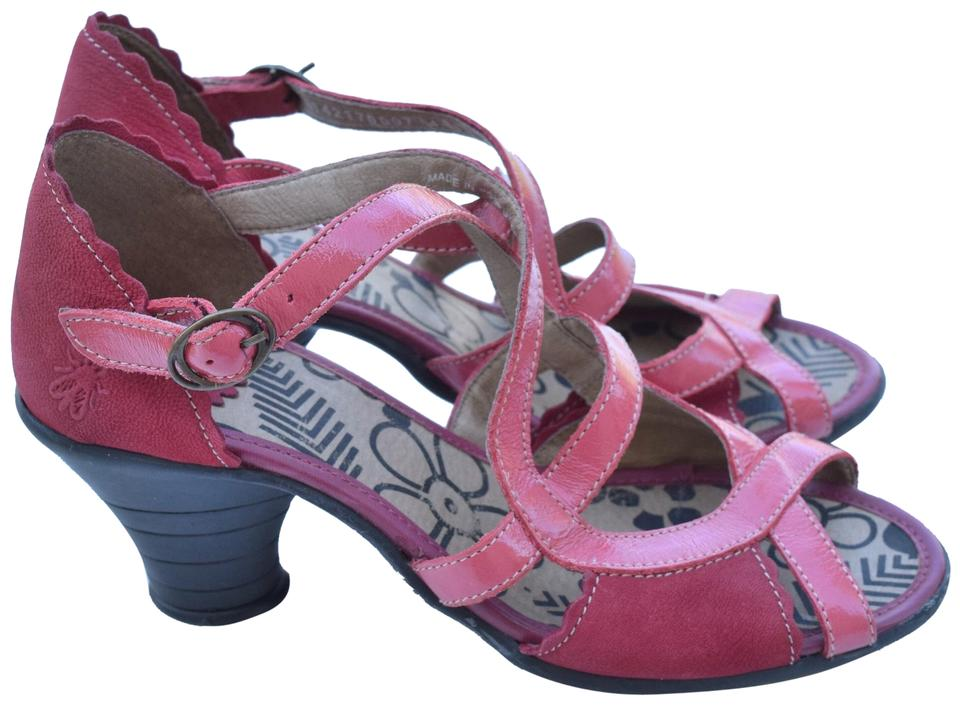 b74c41a61f0 FLY London Red   Pink Criss Cross Leather Sandals Size US 7 Regular ...