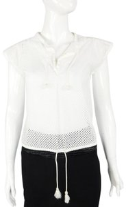Courrèges Eyelet Drawstring Cotton Perforated Top White