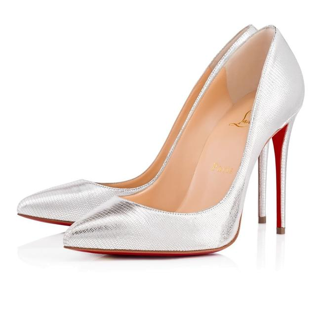 Christian Louboutin Silver Pigalle Follies 100 Laminato Dino Classic Stiletto Heel Pumps Size EU 39 (Approx. US 9) Regular (M, B) Christian Louboutin Silver Pigalle Follies 100 Laminato Dino Classic Stiletto Heel Pumps Size EU 39 (Approx. US 9) Regular (M, B) Image 1