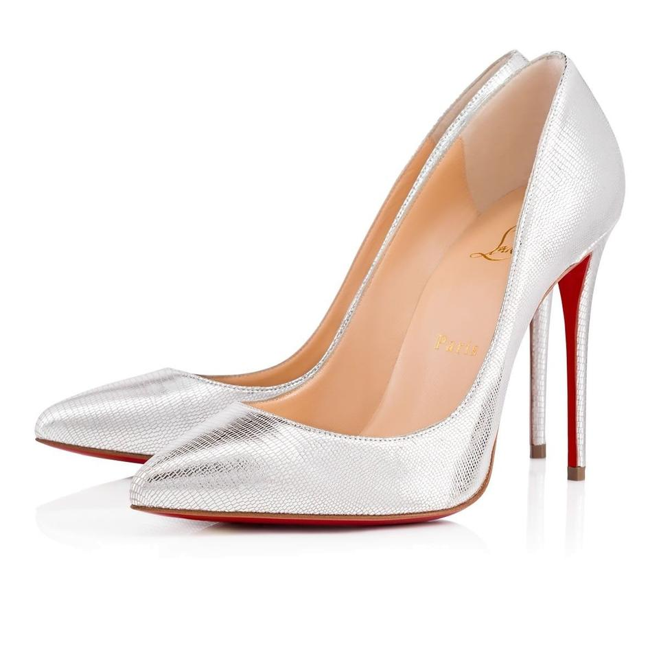 buy online 27d7b 8870c Christian Louboutin Silver Pigalle Follies 100 Laminato Dino Classic  Stiletto Heel Pumps Size EU 39 (Approx. US 9) Regular (M, B)