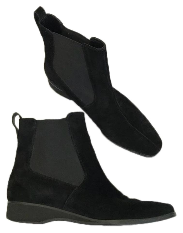 Salvatore Black Ferragamo Black Salvatore Suede Pull-on Chelsea Boots/Booties 5ec9de