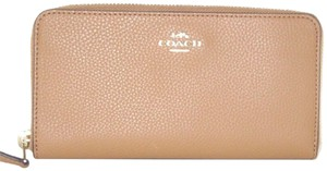 Coach Coach Light Saddle Pebbled Leather Accordion Zip Around Wallet F16612