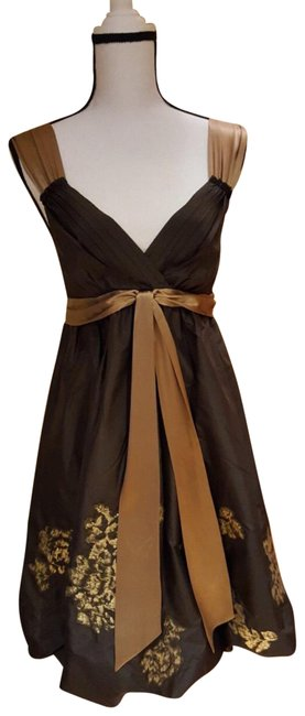 Item - Brown/Tan/Gold Knee Length Mid-length Cocktail Dress Size 4 (S)