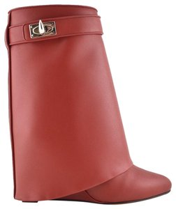 Givenchy Shark Lock Tooth Midcalf Leather red Boots