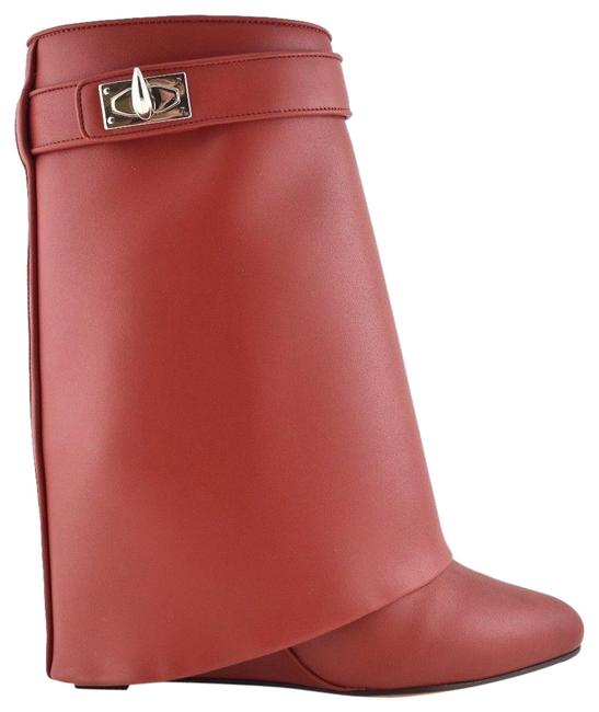 Item - Red Leather Shark Tooth Lock Foldover Wedge Heel Boots/Booties Size EU 36 (Approx. US 6) Regular (M, B)