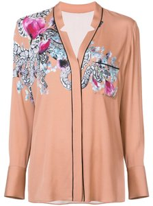 Yigal Azrouël Snake Gucci Silk Floral Longsleeve Button Down Shirt Pink
