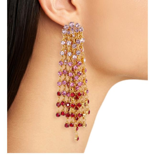 Item - Gold/Red/Pink Crystal Cascade Waterfall Earrings
