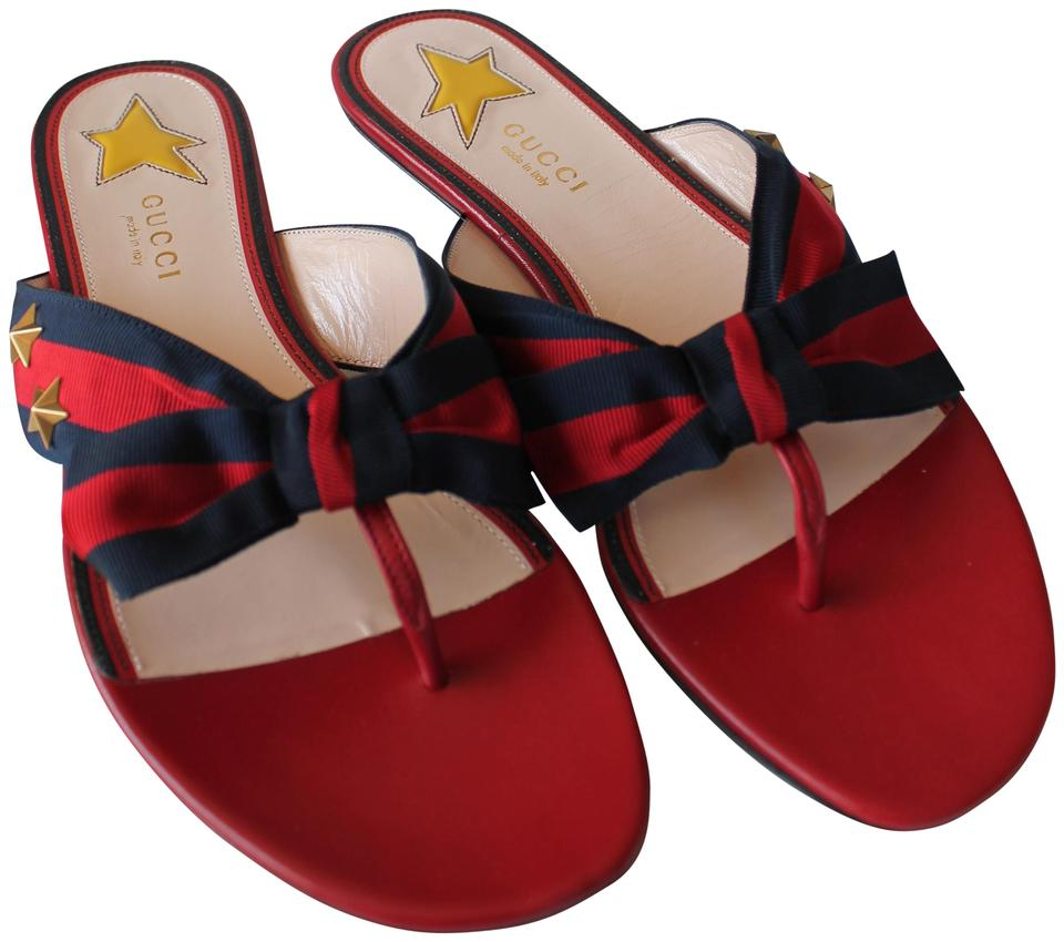 a7159b07dcc Gucci Red Aline Star Grosgrain Web Thong Leather Flats Sandals Size ...