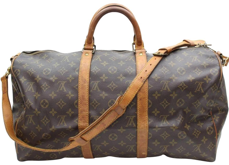 9751f266b9f3 Louis Vuitton Keepall Monogram Bandouliere 50 867974 Brown Coated Canvas  Weekend Travel Bag