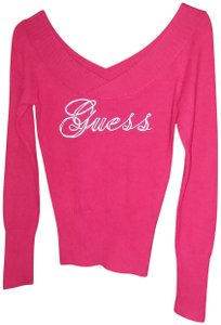 Guess Soft Clingy Embroidered Long-sleeved Surplice Neckline Sweater