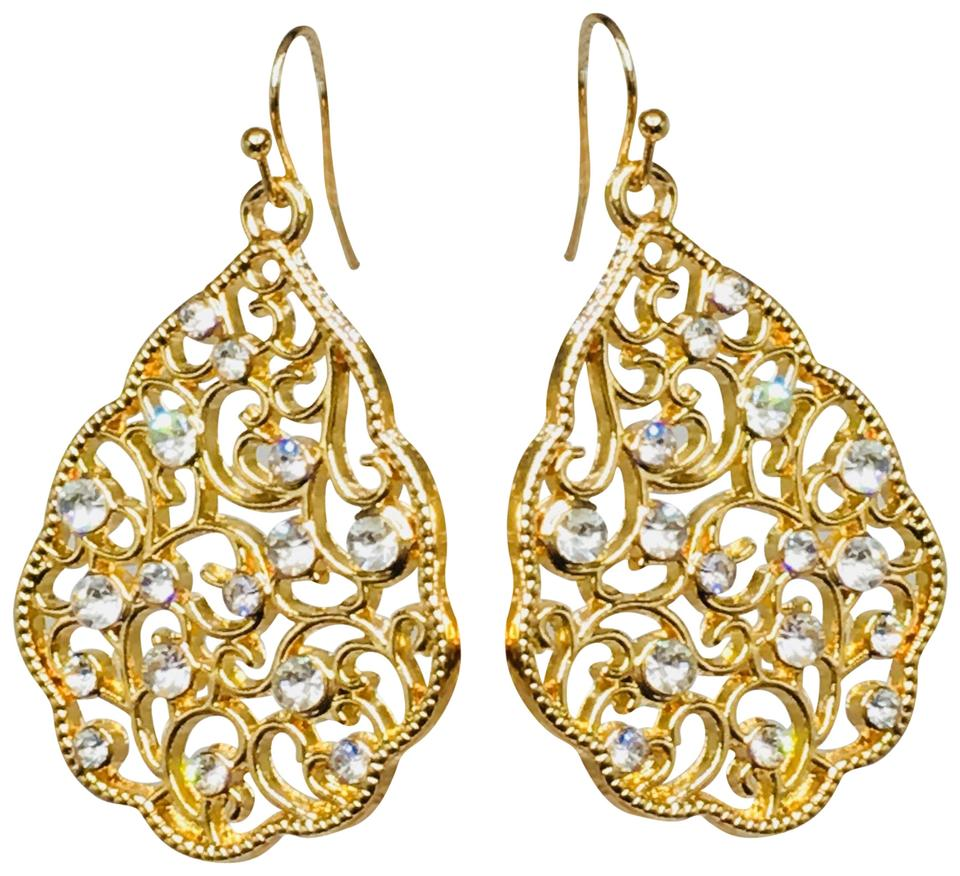5e3d7cdfaa1d1 14k Gold Plated Cz Diamond Pear Drop Dangle Earrings