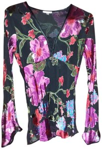 Cache Dressy Silk Floral Blouse Evening Top Black with fuchsia/pink