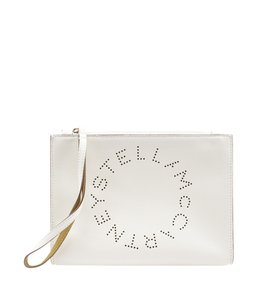 Stella McCartney Faux Leather Wristlet in Cream