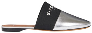 Givenchy Metallic Elastic Silver Mules