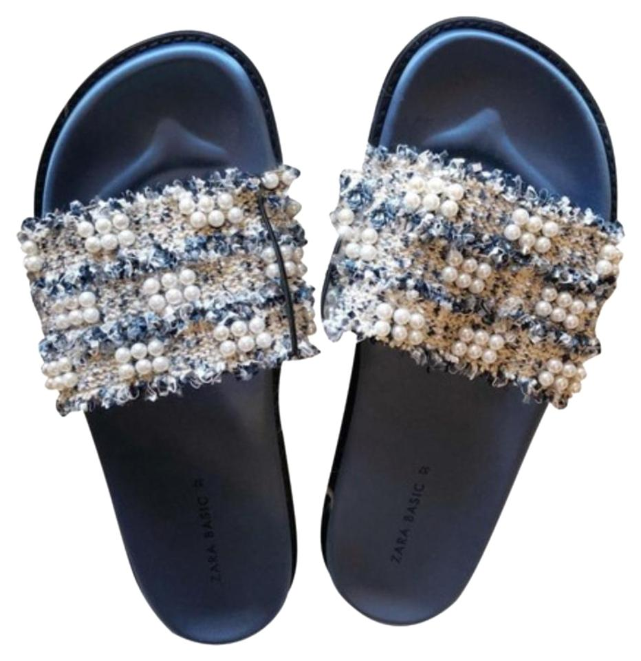 ddfaea1780e Zara Blue Tweed Fabric Slides with Faux Pearls Flats Size US 9 ...