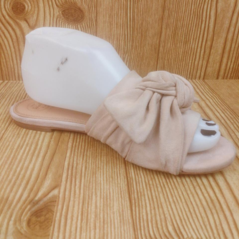 d9eb1a27226ef1 Tory Burch Pink Perfect Blush Annabelle Suede Bow Slide Sandals Size ...