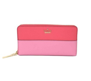 Kate Spade Kate Spade Lacey Cameron Street Bright Flamingo Leather Zip Wallet