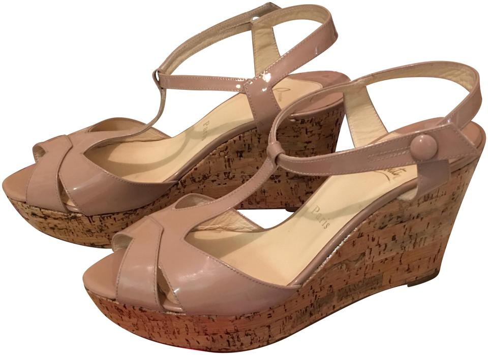 975d78d19df6 Nude Sling Patent Leather Wedges Sandals. CHRISTIAN LOUBOUTIN