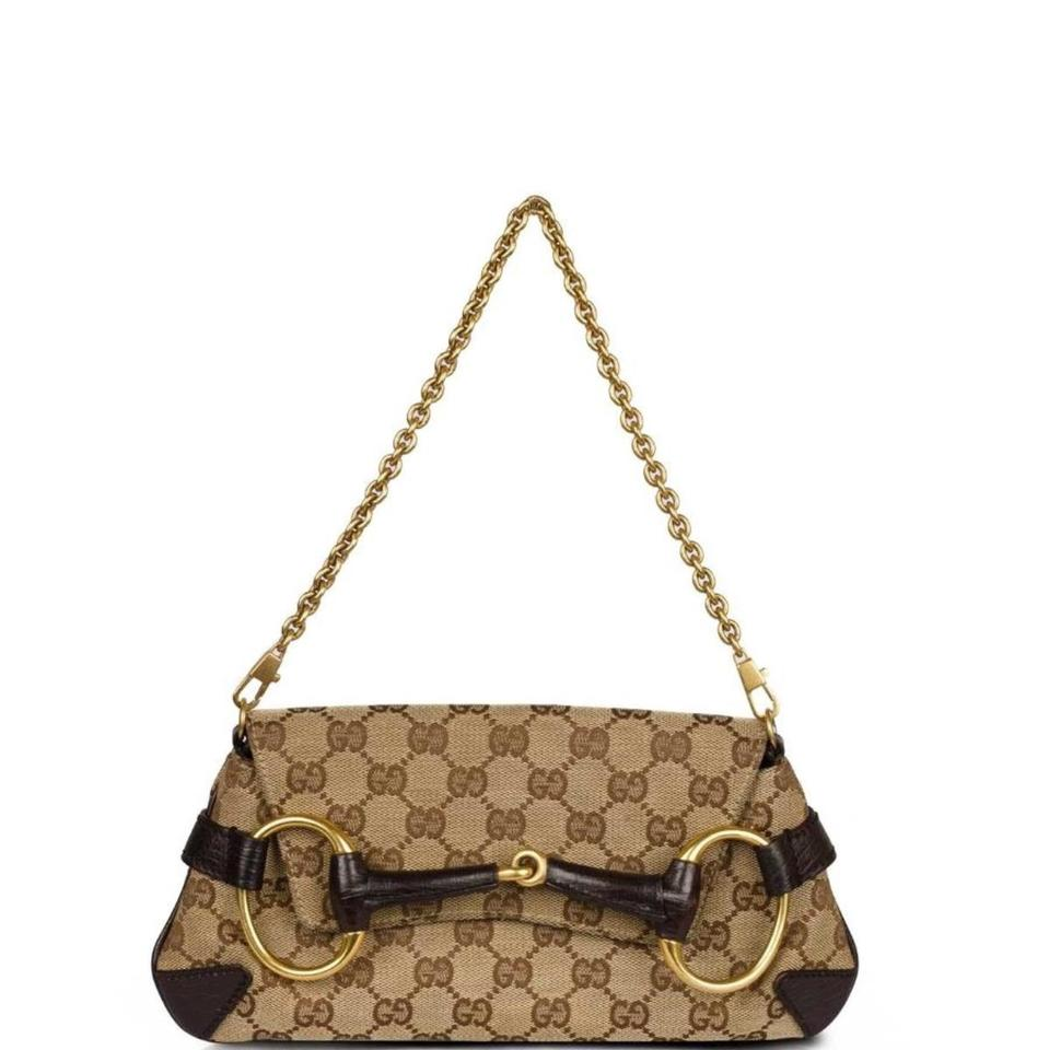 abc8aa51bb2 Gucci Horsebit Chain Convertible Purse Mahogany Khaki   Chestnut Mahogany Khaki Gold Shoulder Bag