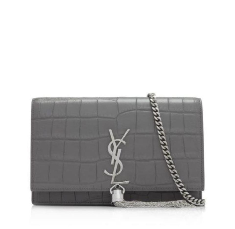 Saint Laurent Chain Wallet Monogram Kate Ysl Croc Embossed Fog Leather Shoulder  Bag 580955333b61a